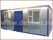 Блок-контейнер 6х2,5м металлическая дверь, 2 окна