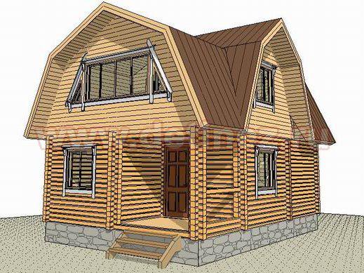 Дом-баня из бруса с мансардой 1344