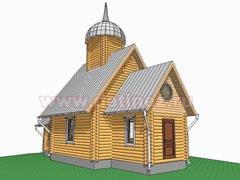 Церковь 6х12м из бревна