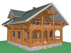Фото 1386 - дом из бревна 9,1х11,7м
