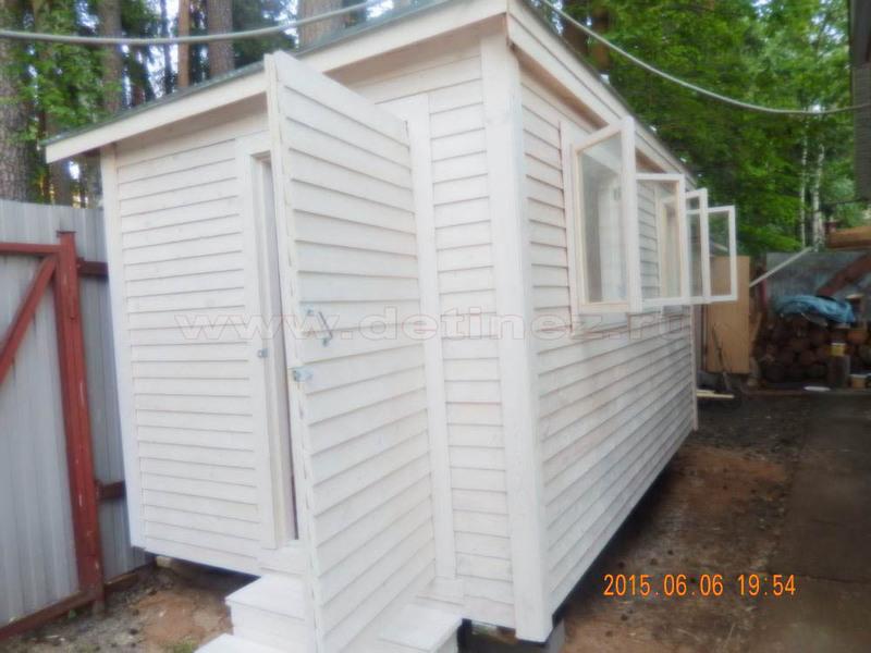 Бытовка деревянная 6х2,3м дверь сбоку